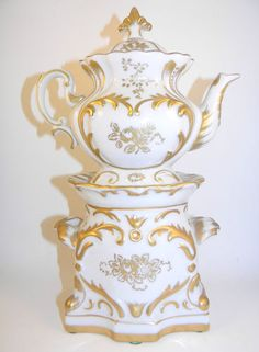 Old Paris Porcelain French Style Veilleuse Thiere Teapot w Godet Warming Stand