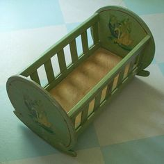 Vintage Doll Cradle Handmade with Green Paint and Swan by tparty, $84.90