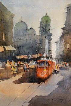 city street, kolkata- watercolour