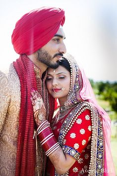 This Sikh bride and groom pose for lovely portraits after their wedding ceremony.
