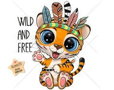 Cartoon Tiger, Cute Cartoon Animals, Cute Tigers, Cute Clipart, Cute Unicorn, Kids Prints, Typography Prints, Free Illustrations, Portfolio