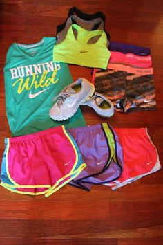 work out gear - can't go wrong with color! New Nike workout gear for Women #nike @ http://www.FitnessApparelExpress.com