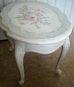 White painted table with blue border & floers ~ Debi Coules Shabby French Chic Art