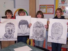 Fingerprint stippled self-portraits - 6th grade. Could adapt to high school - love the large size.