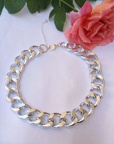 Chunky Silver Chain Necklace by BlackPearlCouture on Etsy