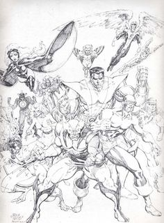 Drawing Marvel Comics The pencils to Classic X-Men Comic Book Artists, Comic Book Characters, Comic Book Heroes, Comic Artist, Comic Books Art, Black And White Comics, Black And White Drawing, White Art, Marvel Comics