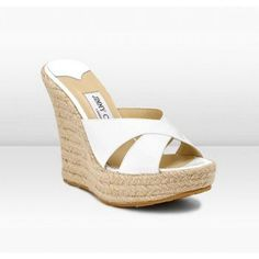 Jimmy Choo Phyllis 120mm White Patent Leather Espadrilles Shoes