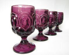Set of 8 - Vintage Amethyst Moon & Stars Goblets,  Footed Tumblers, Purple Water Glasses