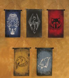 Skyrim Hold Emblems Banners Scroll Poster Wall Art Print for The Elder Scrolls
