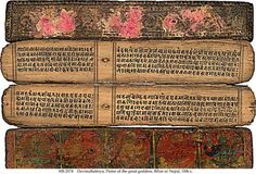 Graphic Design - Graphic Design Ideas - Manuscript in Sanskrit on palm-leaf, Graphic Design Ideas : – Picture : – Description Manuscript in Sanskrit on palm-leaf, -Read More – Medieval Manuscript, Illuminated Manuscript, Sanskrit, Leaf Book, Legends And Myths, Ancient History, Buddhism, Book Design, Nepal