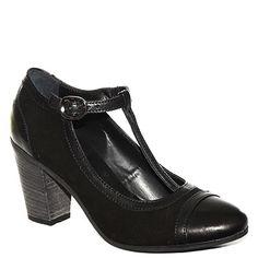 #Decolletè a T #Khrio in camoscio e pelle nera con tacco medio http://www.tentazioneshop.it/scarpe-khrio/decollete-24534-nero-khrio.html
