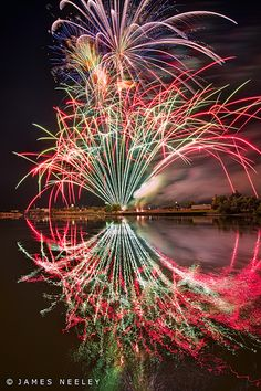 4th of July Fireworks along the Snake River in Idaho Falls.