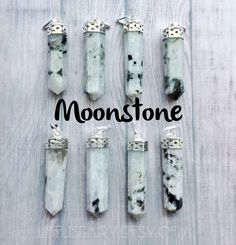 Moonstone Crystal Point pendant necklace chain long by lotusfairy
