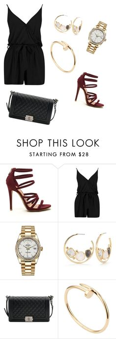"""""""Night time outfit"""" by hanakalesic ❤ liked on Polyvore featuring Rolex, Kate Spade, Chanel and Cartier"""
