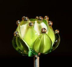 water lily bead , handmade glass bead SRA, OOAK, Cornelia Lentze
