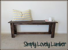 DIY bench.  Looks cute in an entry way, front porch, or seating at a dining room table.