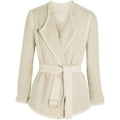 Vince Belted cotton-blend jacket ($590) ❤ liked on Polyvore featuring outerwear, jackets, belted jacket, woven jacket, cream jacket, drape jacket and vince jacket