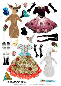 animal paper dolls   Digital sheets ANiMAL PAPER DOLL digital sheets for journal page atc ...