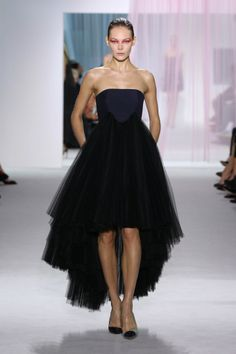 #Style#Outfit#   Ready-to-Wear – Look 45: Navy blue wool and black tulle pleated bustier dress. Discover more on  #PFW