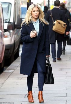 Stylish arrival:Mollie King was seen making a chic recovery from her night out on the town as she was pictured arriving at Brasserie Chavot restaurant on Wednesday afternoon