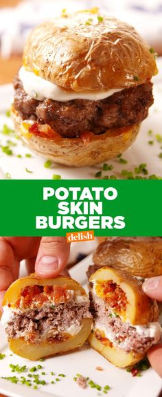 Potato skin burgers. Get the recipe at Delish.com.