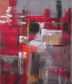 Peinture moderne acrylique colorée rouge orange gris or noir blanc sur chassis toile coton 38 x 46 cm .. : Peintures par stephanie-menard
