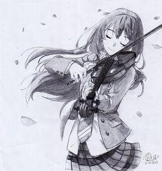 Shigatsu wa Kimi no Uso - Miyazono Kaori - pencil by gunz159