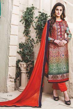 stylish funcional wear pasmina digital print red dress