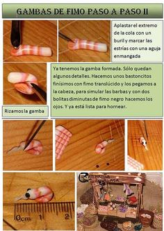 Tutorial: Gambas ó Camarones en Fimo Polymer Resin, Polymer Clay Miniatures, Fimo Clay, Polymer Clay Charms, Polymer Clay Creations, Clay Projects, Clay Crafts, Biscuit, How To Make Clay