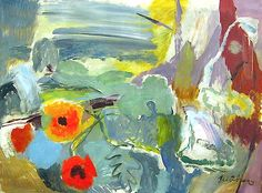:  Ivon Hitchens (1893 - 1979)  Poppies, Open Window on the Downs
