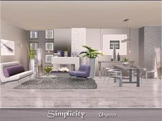 Simplicity modern living and dining room set by ung999 - Sims 3 Downloads CC Caboodle
