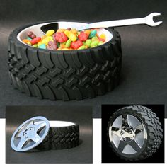 What kid wouldn't want to eat out of this?! Would also be perfect with a glass platter on top to hold a cake for race car theme party.