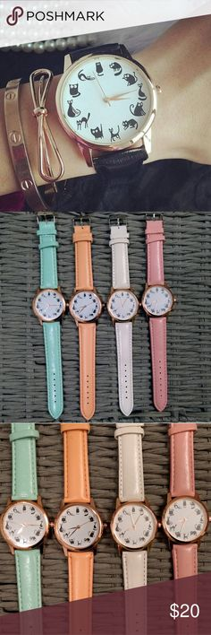 Cat Watch Adorable black silhouette kittens for each hour on this playful decorative bracelet watch. Available in 4 colors: mint green, orange sherbet, white, and pink. Diamonds & Jules Accessories Watches