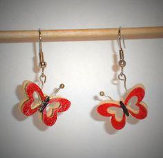 Ohrringe Schmetterling Tiere Holz Damen Ohrschmuck Modeschmuck Durchzieher