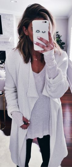 White Maxi Cardigan / White Top / Black Jeans