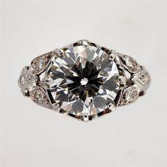 Antique 1930 Transitional Cut Art Deco 2.73ct Platinum Engagement Ring