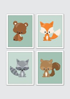 Woodland Animals Nursery Art Woodland Nursery by RomeCreations