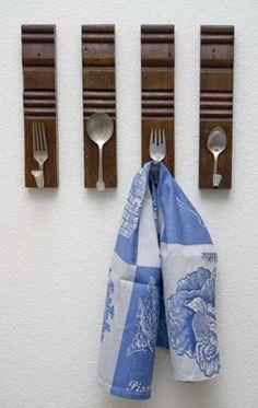 cute diy way to keep your kitchen towel handy
