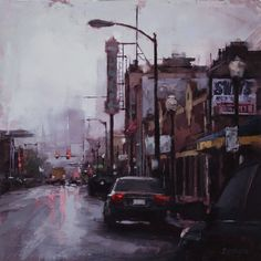 The Arts District by Lindsey Kustusch Urban Landscape, Abstract Landscape, Landscape Paintings, Canvas Paintings, Industrial Paintings, Urban Painting, Oil Painting Techniques, Street Painting, Urban Life