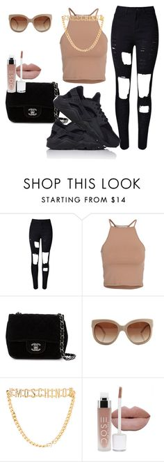 """""""Huaraches"""" by offically-tri1l on Polyvore featuring NLY Trend, Chanel, STELLA McCARTNEY, Moschino and NIKE"""