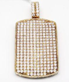 Fancy 925 Gold Tone Sterling Silver Micro Pave C Z  Dog Tag Pendant  #LeonDiamond #Pendant