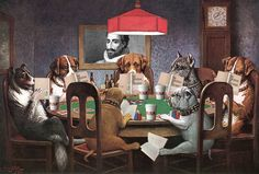 """Thanks to Dogs Playing Poker, painter Cassius Marcellus Coolidge (a. Coolidge) has earned the dubious distinction of being called """"the most famous American artist you've never heard of. Jouer Au Poker, Dogs Playing Poker, Most Famous Paintings, Famous Art, Classic Paintings, Vintage Design, Training Your Dog, American Artists, Art Prints"""