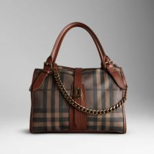 Medium Smoked Check Chain Tote Bag Dark Tan Outlet sale : burberry scarf,burberry scarfs,burberry scarf uk
