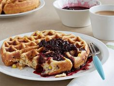 Buttermilk Corn Waffle with Berry Syrup: A summery combination of corn and berries make these rich, crispy-edged corn waffles stand out. They would also easily work as savory treats, topped with a crab cake or fried shrimp and drizzled with remoulade sauce.