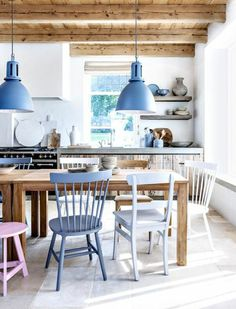 Love the painted chairs and blue lights with all the wood Dining Room Lighting, Rustic Dining Room, Blue Dining Chair, Home, Interior, Diy Dining Table, Pendant Lighting Dining Room, Home Decor, Dining Room Table