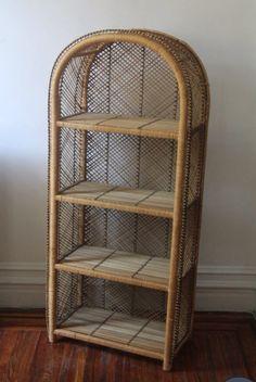 Vintage Wicker Storage Shelf