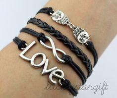 Owls bracelet infinity karma bracelet & love by luckystargift, $4.99