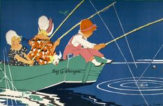 Vintage Art Deco children's book illustration art fishing in boat digital download printable clip art Janet Laura Scott by BigGDesigns on Etsy