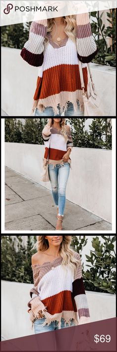 777afd5d2ce85 Spotted while shopping on Poshmark  Distressed Earth Toned Sweater!   poshmark  fashion