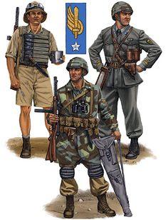 """Regio Esercito - """"Paratroopers, 1941-42"""" • Paracadutista, 185ª Divisione Paracadutisti Folgore; Egypt, 1942 • Sottotenente, Divisione Paracadutisti Folgore; Italy, 1941 • Paracadutista, Divisione Paracadutisti Folgore; Italy, 1942"""
